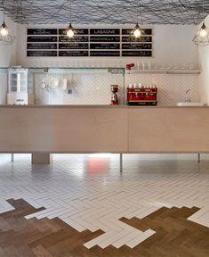 Lasagneria Restaurant in Prague by mar.s architects - InteriorZine Prague, Restaurant, Decoration, Liquor Cabinet, Flooring, Storage, Mosaic, Shops, Design