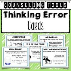 Thinking Errors Cards: Counseling Tools to Help Kids Change Negative ThoughtsCognitive Distortions, Thought Errors, Thinking Errors are often made by students before they engage in negative behaviors. In counseling sessions using cognitive behavioral stra
