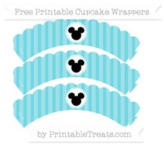 Free Pastel Teal Striped Mickey Mouse Scalloped Cupcake Wrappers