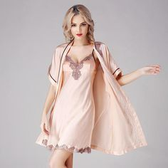 Silk Nightgown Robe Set with Flower Trimming For Ladies silk Nightwear Set Silk Sleepwear, Sleepwear Women, Nightwear, Silk Pajamas, Long Silk Nightgown, Robe Silk, Silk Gown, Bath Robes For Women, Babydoll