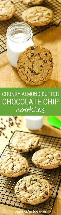 These chunky almond butter chocolate chip cookies are gluten-free, grain-free, and dairy-free with just 5 ingredients. A perfect quick dessert recipe. | Cook Eat Paleo