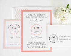 Blush Wedding Invitation Coral Gray Peach von ShineInvitations