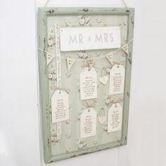 Vintage Style Green Floral Frame for Wedding Table Plan Idea - Unique & Unusual DIY