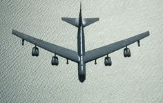 A U.S. Air Force B-52 bomber returns from a mission over Iraq, after refueling from a KC-10 plane over the Black Sea, on March 28, 2003