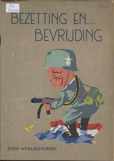 """Bezetting en ... bevrijding : een aantal impressies in ernst en luim / door W.F. Bladergroen Maker: auteur:   Bladergroen, W.F. uitgever:   Eindhoven : """"De Pelgrim"""" Trefwoord: Tweede Wereldoorlog Strips (teksten) Verv.jaar:[1945] Object: brochure Afmeting:ongepag / 21 cm Bron:Br 8349 (brochure), Propagandadrukwerk WOII (collectie brochures), Nederlands Instituut voor Oorlogsdocumentatie Copyright:voor informatie: Nederlands Instituut voor Oorlogsdocumentatie"""