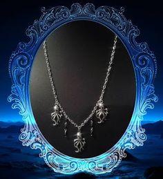 Collar de pulpos calavericos con cuentas cadena  metal (hierro) negras tono plateado