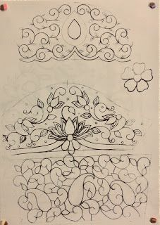 Back neck Sleeve Border Embroidery Designs, Floral Embroidery Patterns, Couture Embroidery, Embroidery Motifs, Vintage Embroidery, Magam Work Designs, Hand Designs, Hand Embroidery Videos, Pencil Design