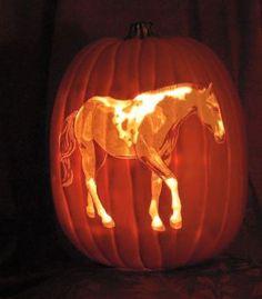 halloween carved pumpkin Horse (56 pieces)