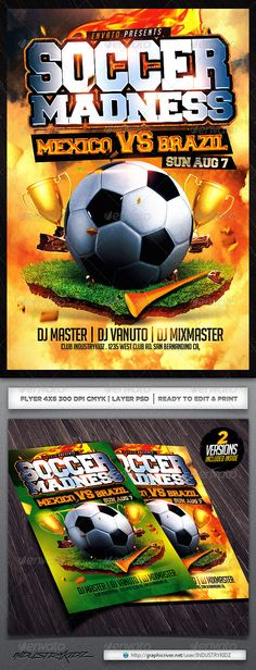 Football Game Flyer Template With  Variations  Flyer Template