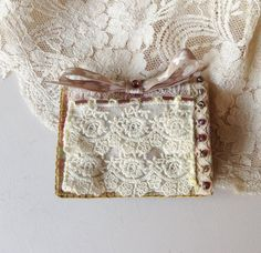 Handmade textile needle case embellished with by QuirkyCooperies