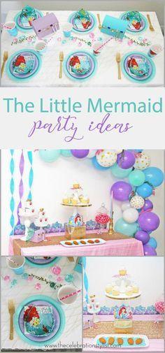 The Little Mermaid Birthday Party decorations. Ariel invitations, cake table, and centerpieces.