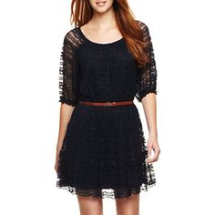 Belted Lace Dress - jcpenney