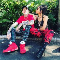 Rapper Lil Peep and Arzaylea Rodriguez as seen in November 2017...
