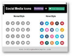 Create Bootstrap 3 Social Media Icons | Round Icons | Bootstrap 3