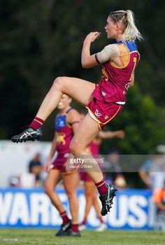 Tayla Harris of the Lions in action during the round four Women's AFL match between the Brisbane Lions and the Greater Western Sydney Giants at South Pine Complex on February 25, 2017 in Brisbane, Australia.