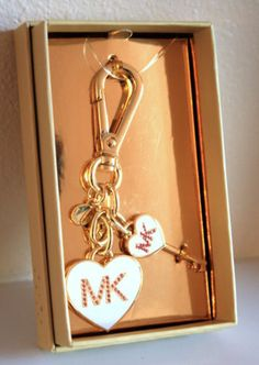 The perfect Valentines Gift!  Michael Kors Signature Heart Key Chain Charm Fob