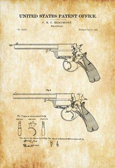 1856 Revolver Patent - Patent Print Wall Decor Gun Art Firearm Art Western Art Gun Patent Antique Gun Antique Revolver by PatentsAsPrints