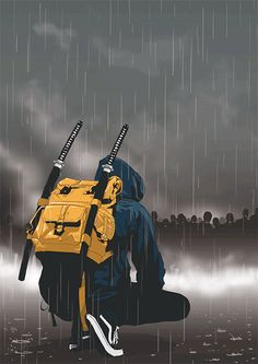 animated gif raining rain hoody backpack katana swords sport before the fight blue dark sweater art illustration drawing