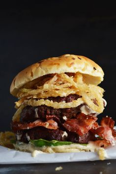 Crispy Onion and Bacon Burger with White BBQ Mayo