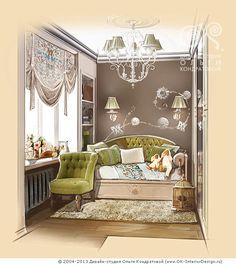 Рисунок интерьера детской комнаты для девочки в квартире  http://www.ok-interiordesign.ru/ph_dizain-detskoy-komnaty.php