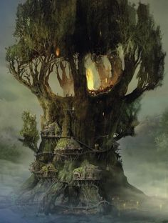 Wow this is a pretty nice fantasy tree house Fantasy Places, Fantasy World, Fantasy City Names, Fantasy Artwork, Fantasy Kunst, Fantasy Setting, Fantasy Landscape, Fantasy Trees, Fantasy Village