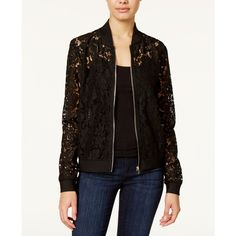Say What? Juniors' Lace Bomber Jacket ($37) ❤ liked on Polyvore featuring outerwear, jackets, black, lace jacket, flight jacket, bomber jacket, lace bomber jacket and blouson jacket