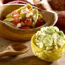 Stuffed Plantains and Nopalito Salad (Tostones Rellenos y Ensalada de Nopalitos)     This recipe combines Puerto Rican plantains, a Venezuelan chicken filling and serves a traditional Mexican salad alongside. #Recipes #GOYA