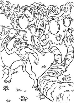Tarzan and fruits coloring pages for kids, printable free