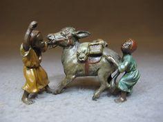 """Vienna bronze Orientalist boys & dunkey sculpture, original painting. 2"""" H x 3"""" W."""