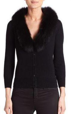 MILLY Fur-Collar Cardigan