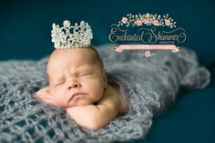 """The Aurora"""" crown is our Medium sized crown and is full of rhinestone and crystals.Enchanted Shimmer Designs crowns are so versatile that they can be used for many different events. Gender reveals, newborn pictures, older girl pictures, birthday or wedding cake toppers, bouquet holders, worn around your bun for dance, and many more!Warning: Not intended for use as a toy. Potential Choking Hazard. Contains small parts. Please supervise small children while wearing. Do ..."""