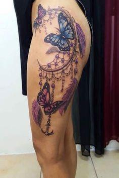 Perfect Calf Tattoo Model Girl Thigh Tattoos, Mommy Tattoos, Dope Tattoos, Pretty Tattoos, Beautiful Tattoos, Body Art Tattoos, Dreamcatcher Tattoo Thigh, Butterfly Tattoos On Arm, Feather Tattoos
