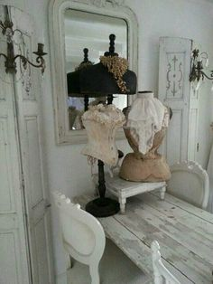 Brocante Vintage Shabby Chic, Shabby Chic Homes, Shabby Chic Decor, Shabby Chic Mannequin, Vintage Mannequin, Dress Form Mannequin, Vintage Outfits, Vintage Dress, Colour Schemes