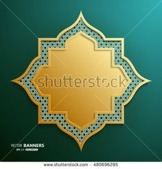 Abstract 3D golden geometric shape with islamic design on dark green background