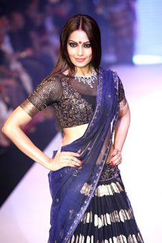 Bipasha Basu Hot in Blue and Black Lehenga saree blouse 2013 Netted Blouse Designs, Blouse Neck Designs, Indian Attire, Indian Wear, Indian Dresses, Indian Outfits, Indian Clothes, Western Outfits, High Neck Saree Blouse
