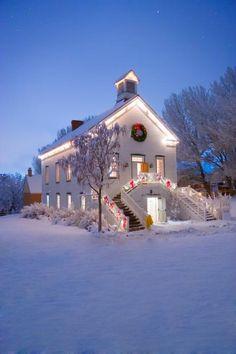 White Church, Fallen Snow, Christmas Wreath.