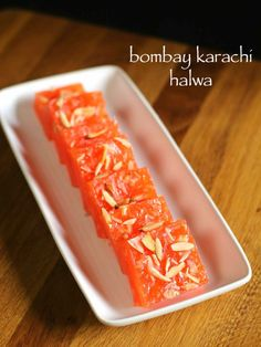 bombay karachi halwa recipe, corn flour halwa recipe with step by step photo/video recipe. chewy indian dessert cooked with corn flour for diwali festival. Jamun Recipe, Burfi Recipe, Chaat Recipe, Recipe Recipe, Spicy Recipes, Sweets Recipes, Indian Food Recipes, Cooking Recipes, Macrame Bracelets