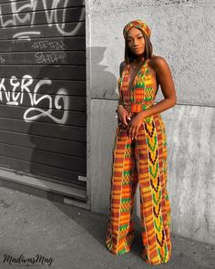 2019 Ankara Beautiful Jumpsuits - Naija's Daily Pictures Of Latest Chic And Trendy Ankara Styles Of 2018 African Prom Dresses, African Dresses For Women, African Attire, African Wear, African Fashion Dresses, African Outfits, Ankara Fashion, Trendy Ankara Styles, Kente Styles