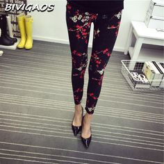 50ae5ea3269 2016 Spring New Fashion Casual Cotton BRUSHED Black Milk Leggings Pants  Female Elastic Plaid Graffiti Leggings Trousers Women