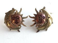 Vintage Sterling Silver 925 Moon And Sun Earrings From Taxco Mexico