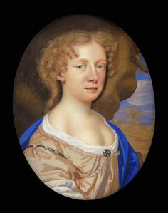 Portrait miniature of Mary Beale (1633-99), the artist's mother, 1679 - by Charles Beale II. The authorship of this brightly painted portrait has not been certainly known until now.
