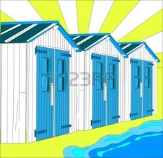 beach huts: illustration of dutch little houses on beach, The Netherlands