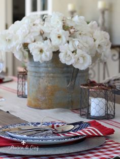 Gorgeous Farmhouse Inspired Patriotic Table Setting~ Table setting ideas for July ---> Small American Flags, Patriotic Decorations, Patriotic Party, Patriotic Crafts, July Crafts, Discount Home Decor, Simply Home, Table Setting Inspiration, Home Decor Vases