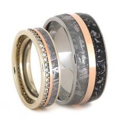 Meteorite Wedding Band Set with 14k Rose Gold Complement
