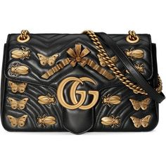 Gucci Gg Marmont Animals Studs Shoulder Bag ($2,980) ❤ liked on Polyvore featuring bags, handbags, shoulder bags, black, genuine leather shoulder bag, leather handbags, bow purse, shoulder handbags and gucci handbags