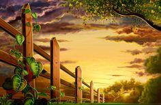 XOO Plate :: Countryside Fence Sunset Landscape PSD - Country landscape at dusk - psd.