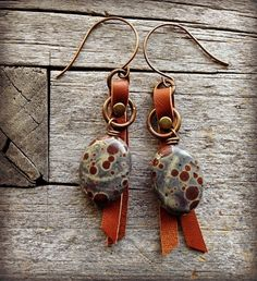 Spotted Jasper and Leather Earrings by LoreleiEurtoJewelry on Etsy, $25.00