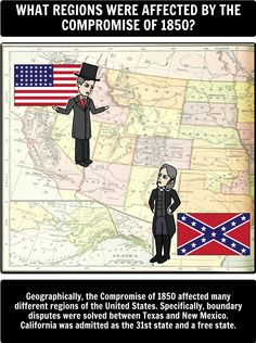 1850s America: A Precursor to the American Civil War - The Compromise of 1850: Spider Map Cell - The Compromise of 1850 was created to settle disputes between Northern and Southern politicians on how to deal with slavery and its expansion into newly acquired western territories. However, it merely served as a 'quick fix' for the Pre-Civil War 1950s America. Read more in our history guide + Compromise of 1850 lesson plan!