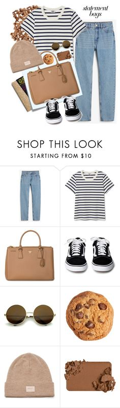 """""""Untitled #457"""" by ruchirich ❤ liked on Polyvore featuring Monki, Post-It, Prada, Too Faced Cosmetics and statementbags"""