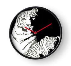 Clock 'tiger and cub' by Mindgoop
